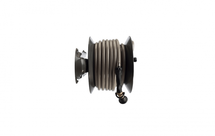 TheModel \104\1 Wall-Mount Hose Reel can be mounted in either a parallel or perpendicular configuration on a wall or fence. It wraps up to \150 feet of 5/8-inch garden hose onto its aluminum-alloy body. A braking system stops the reel from unspooling more hose than you want; \$\169.99 at Eley.