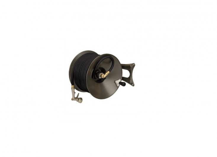 AWall Mounted Hose Reel made of die-cast aluminum is painted a dark bronze color and can be mounted for either left- or right-handed operation; \$\289 from Griot&#8\2\17;s Garage.