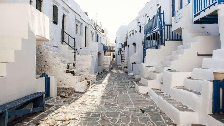 Folegandros Greece whitewashed facades blue trim paint