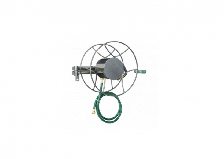A swing arm allows theYard Butler Wall Mount Swivel Hose Reel to turn \180 degrees so the hose can be unwound at any angle from the wall. All-steel construction; holds up to \100 feet of 5/8-inch hose; \$\1\19.99.