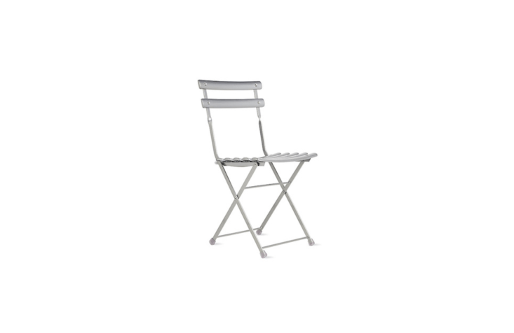 With a durable steel frame and weather-resistant powder-coated finish, the silver-colored Arc En Ciel Folding Chair weighs about \10 pounds and is \$\1\10 at Design Within Reach.