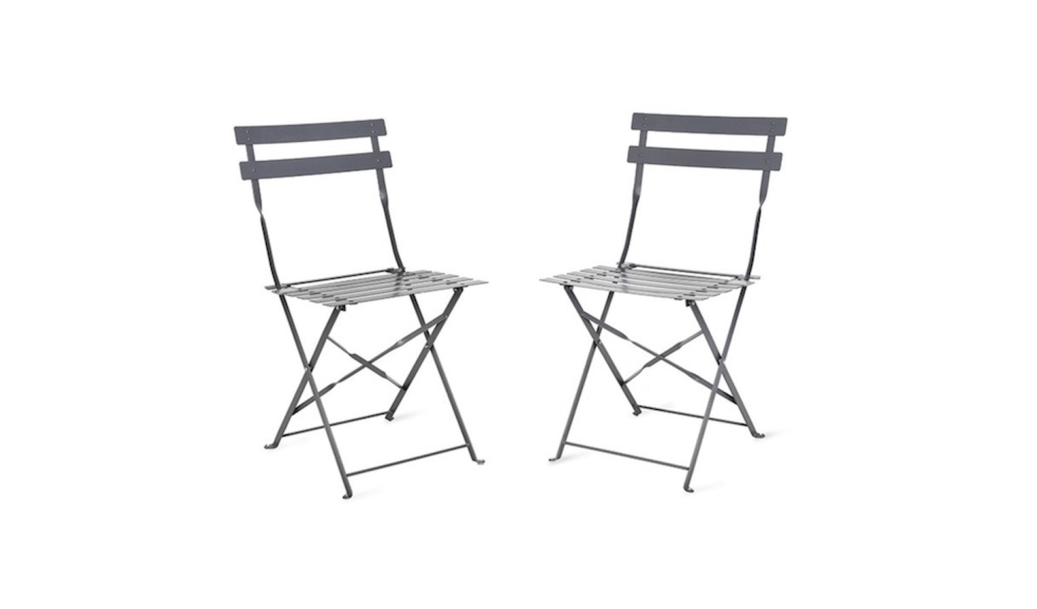 A set of two steel Bistro Chairs in charcoal (also available in three other colors) is £50 from Garden Trading.