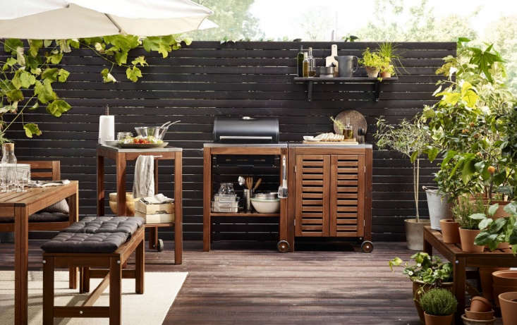 An outdoor kitchen via Ikea, grill included.