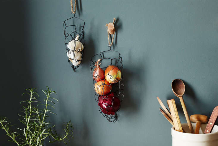 The Charest Studios Wall-Mounted Onion Garlic Basket is made ofannealed steel wire and hangs on the wall; \$30 to \$69 at Food5\2.