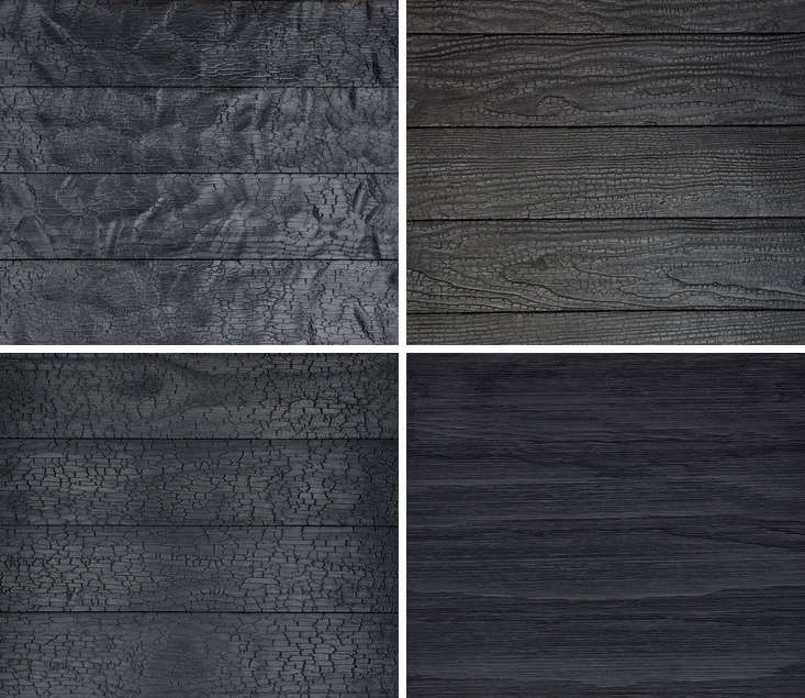 Lumber retailers of late have begun to specialize in shou sugi ban. Shown here, a sampling of the shou sugi ban finishes offered byDelta Millworks in Texas, which focuses solely on burnt woods and works directly with private and commercial clients. Another provider is the reSawn Timber Co. of Bucks County, PA. In the UK,Shou-Sugi-Ban supplies, designs, and installs shou sugi ban cladding, flooring, and wall coverings in colors that it compares to &#8