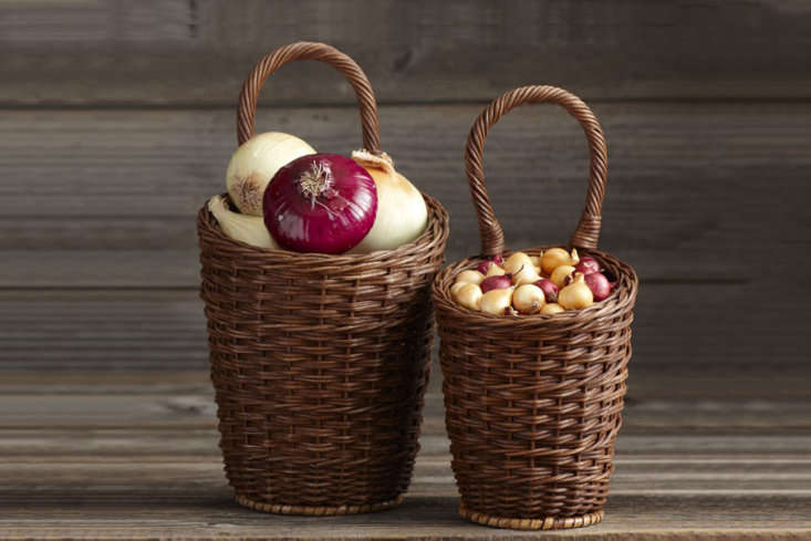 A set of two hand-woven rattan Onion Baskets (the tall one is \14 inches high, including its handle; the smaller one is \13½ inches) is \$\29.95 from Williams-Sonoma.