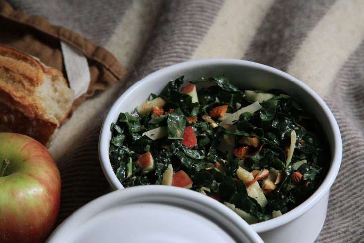 Kale with nuts: yes. Here&#8\2\17;s our easy (and very delicious) recipe for Raw Kale Salad with Apples and Almonds. Photograph by Erin Boyle.