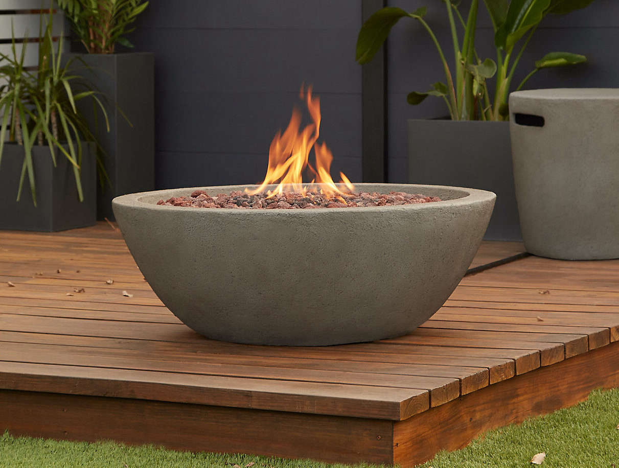 The Real Flame Riverside Propane Fire Bowl is made from durable fiber concrete; $src=