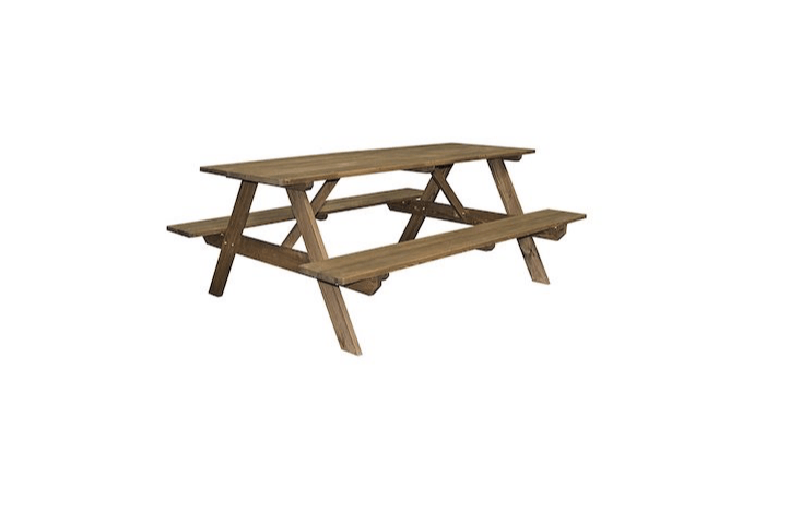 OK, we&#8\2\17;ll bow to tradition. A Cedar Picnic Table with built-in bench-style seating is \$\20\1.\28 via Amazon.