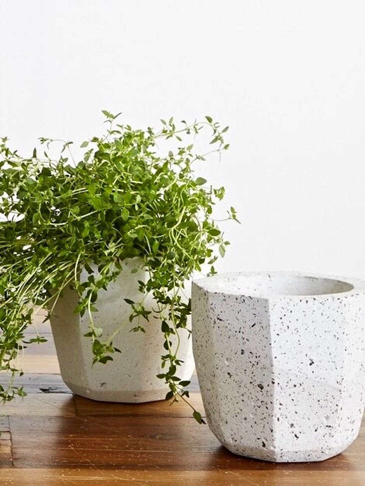 Tiny pieces of white marble, red granite, black basalt, limestone, and kiln-dried flint suspended in white Portland concrete create a marble-ized effect. A one-of-a-kind Faceted Plant Pot is $86. from Trouva.