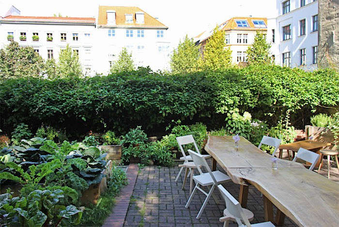 Five raised garden beds made from domestic oak planks are planted with kohlrabi, kale, cabbage, chard, and fennel at Laden Cafe in Berlin. Photograph by Dirk Lange.