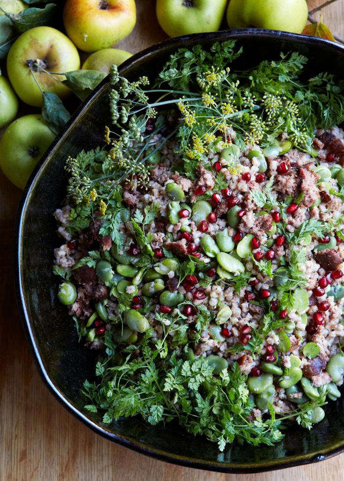 Pomegranate seeds add sweetness, crunch, and color to this salad. Photograph by Aya Brackett for Remodelista, from An Irresistible Farro Recipe.