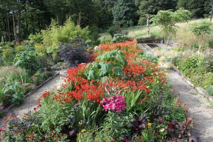 A garden bed is a riot of color with perennials such as lilies in bloom in summer.