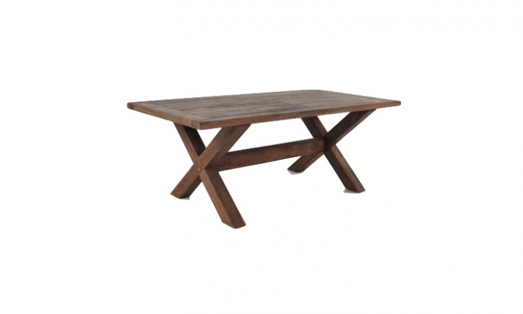 Made of reclaimed teak, an Alfresco X-Leg Table is 79 inches long and is \$\1,795 from Teak Warehouse.