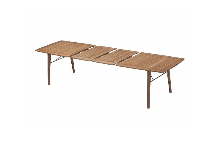 From Skagarek, a teakBallare Dining Table comes with two extension leaves and can expand from 77 inches to \1\17 inches; \$3,699 from Curran.