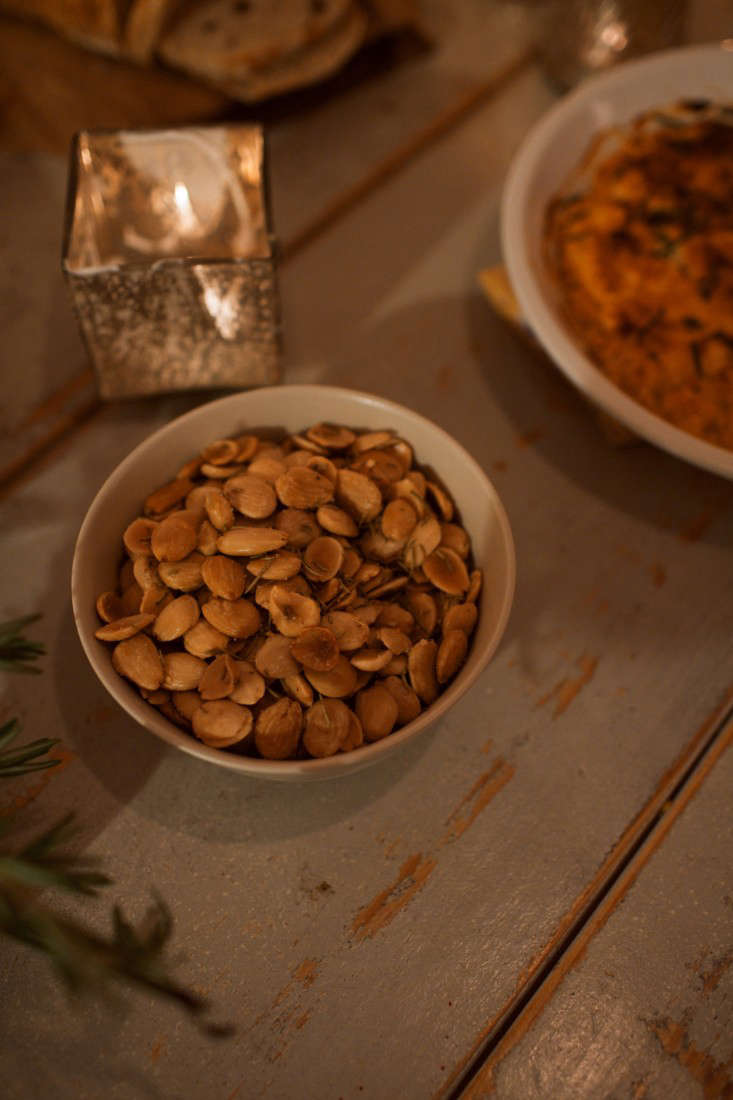 Roasted marcona almonds with sea salt and rosemary.