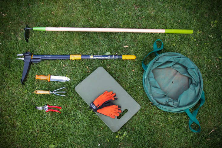 My weeding arsenal includes the basics: a bag, gloves, knee pad, clippers, claw, and a hoe, as well as a few specialized tools: a soil knife, and a Fiskars UpRoot Weeder.