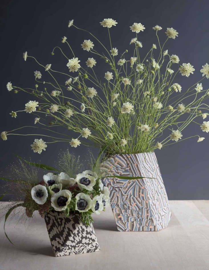 Scabiosa en masse in a David Stark-designed arrangement. Photograph by David Stark Design for Gardenista, from Short on Floral Inspiration? Start with the Vessel, Says David Stark.