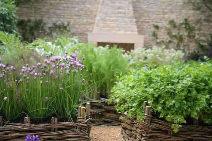 Raised garden beds in the kitchen gardens of Daylesford Organic keep chives and other herbs happy and have sides of woven willow. See Garden Must-Have: Woven Willow Fences and Trellises for more inspiration.