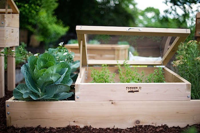 If you like the idea of a cold frame, but are DIY-averse, there are many pre-made cold frame options. See our roundup  Easy Pieces: Cold Frames. Photograph via Farmer D. Organics.