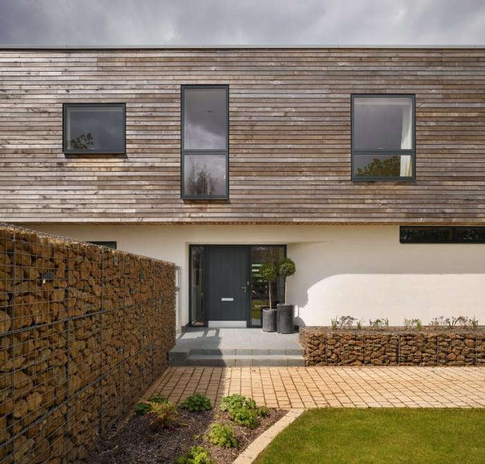 In a Bedfordshire, UK, project, London architecture firm Platform 5 used gabion walls to create a transition between domestic and agricultural environments. For more, see A Smart Modern House, Meadow View Included on Remodelista.