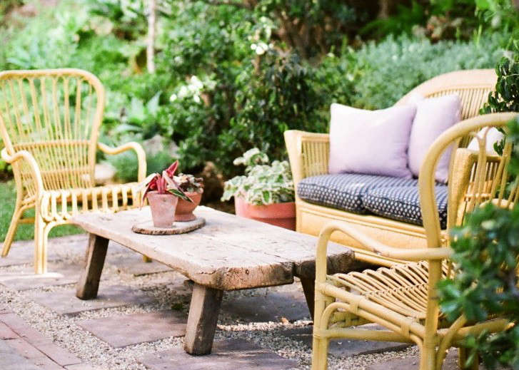 LA jewelry designer Kathleen Whitaker has an inviting seating arrangement in her backyard. For more of her garden, see At Home with Jeweler Kathleen Whitaker in LA.