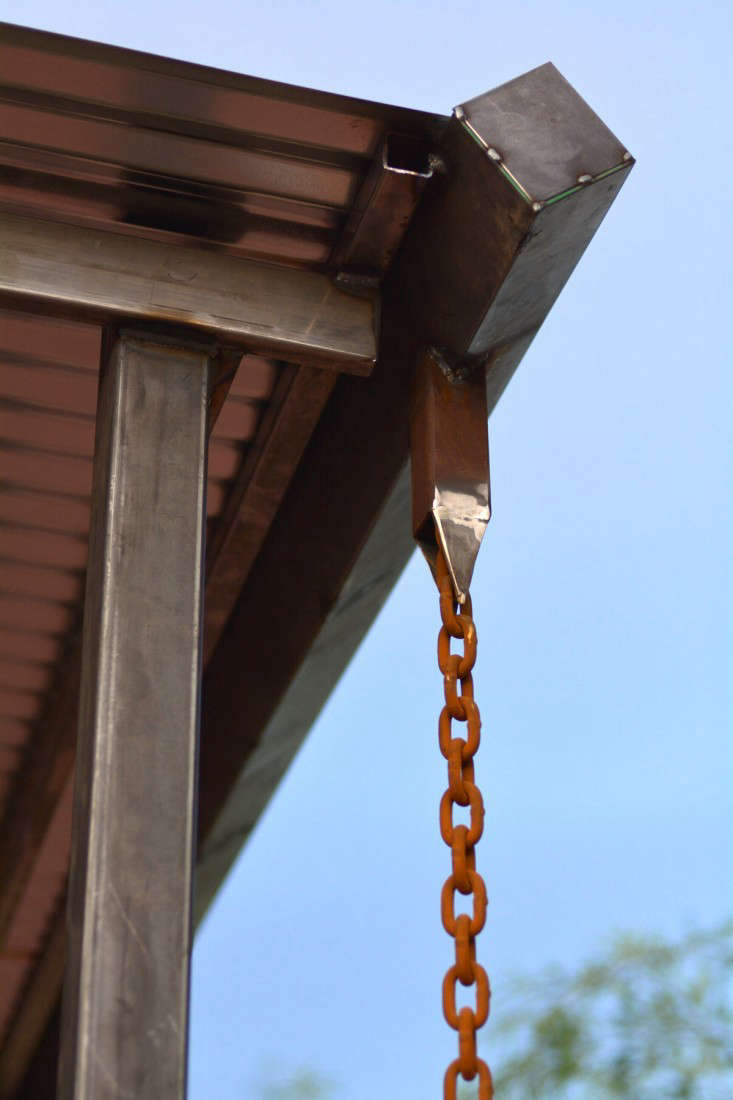 When landscape designers or architects specify rain chains, they often use custom, heavy duty hardware and fittings, as on Red Bark Design&#8