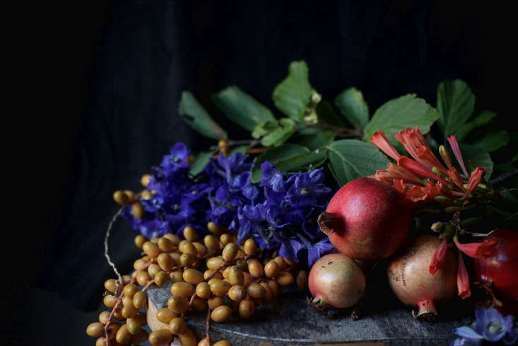 Not only are pomegranates delicious, but they also have decorative appeal. Photographby Sophia Moreno-Bunge for Gardenista, fromDIY Floral Arrangement: A Bouquet Inspired by Old-World Still Lifes.