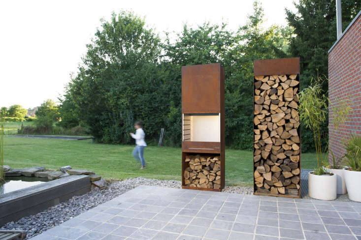 The K60 has its own firewood storage compartment at the bottom, but iol Strategic Design managing director Francois Royen designed a separate log storage unit of equal height.