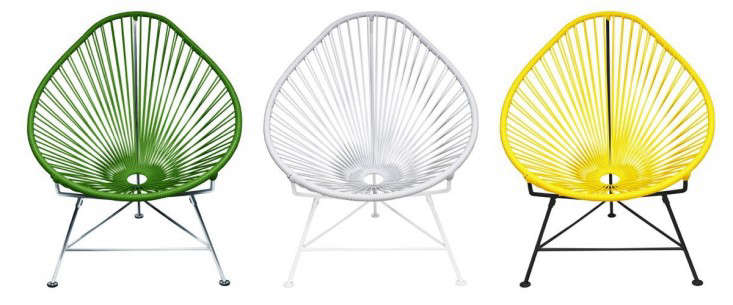 Inspired by the woven designs of Mayan hammocks, anAcapulco Chair is made of &#8\2\20;flexible yet durable vinyl cord&#8\2\2\1; and has a metal frame. It measures a comfortable 35 inches high, 30 inches wide, and 33 inches deep, dimensions likely to provoke &#8\2\20;an instant siesta.&#8\2\2\1; Available in a rainbow of colors and with a choice of black or white metal frame, it is \$430 from Innit Designs.