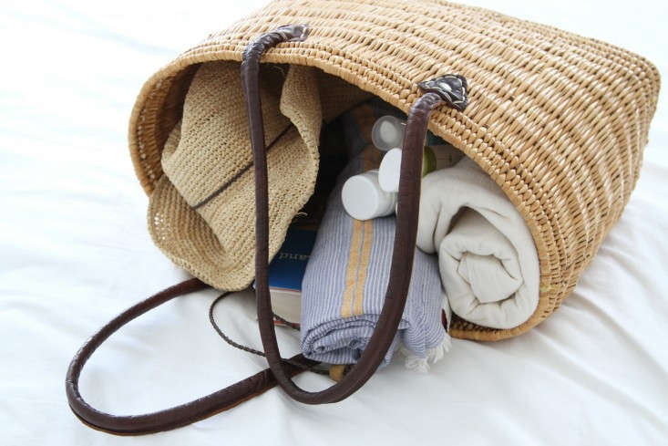 Erin Boyle totes her beach basics in a nice clean beach bag.  For more, see Demystifying Sunscreen: 5 Things You Need to Know.
