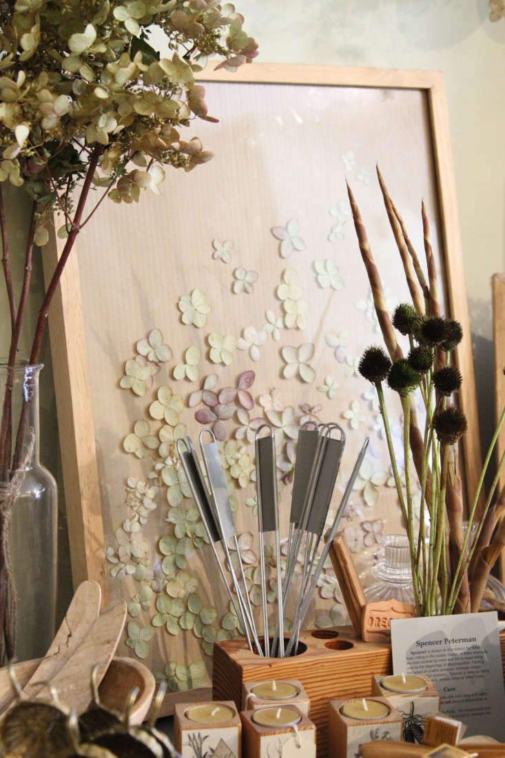 Pressed fresh hydrangea flowers drying in a glass frame.The goal of the shop display is to show customers what can be done with flowers besides keeping them fresh in vases.