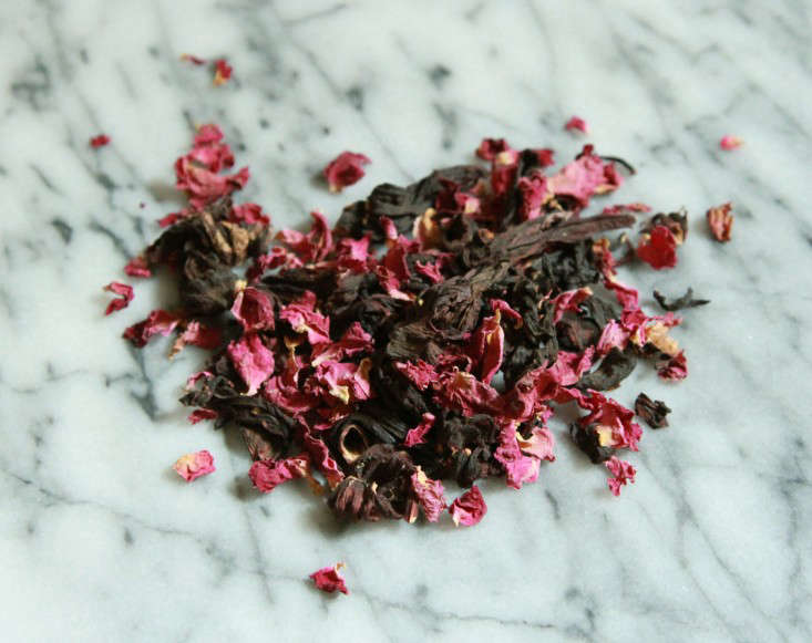 Jessa blends equal parts dried rose and hibiscus flowers to make summer goddess tea.