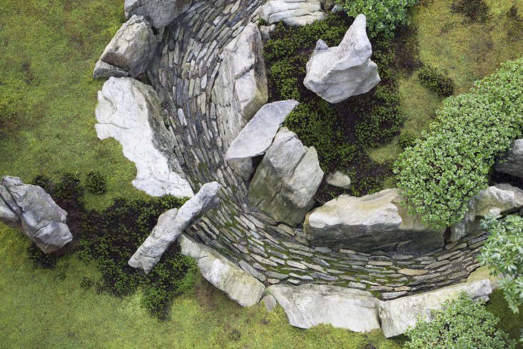 Another overhead view of the river of stones. Azalea is planted along the edge.
