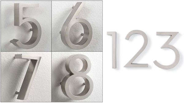 Neutra House Numbers in Aluminum are $35 each from Herman Miller.