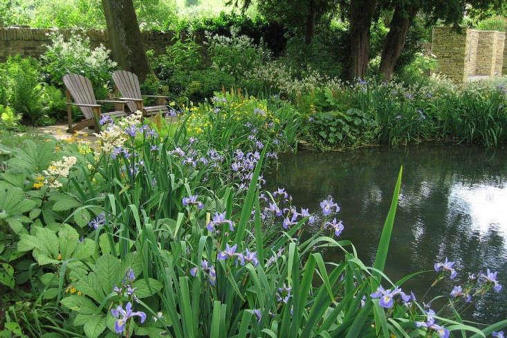 old-rectory-pond-iris-adirondack-chairs-gardenista