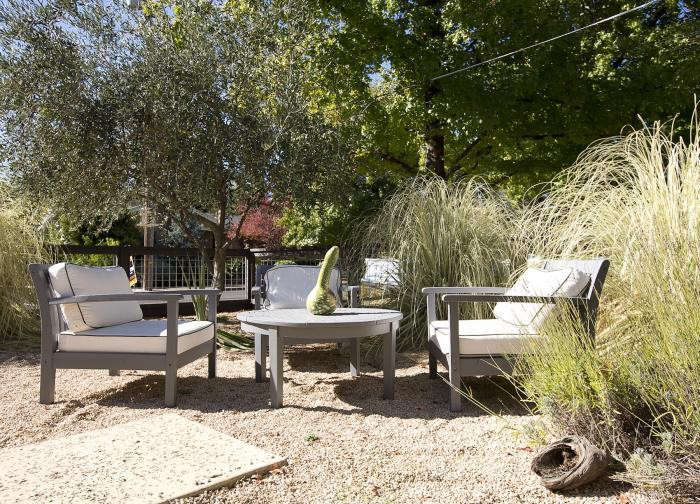 Beneath a pea gravel patio in Northern California is a weed barrier. Photograph by Mimi Giboin for Gardenista, from Every Garden Needs a Teepee.