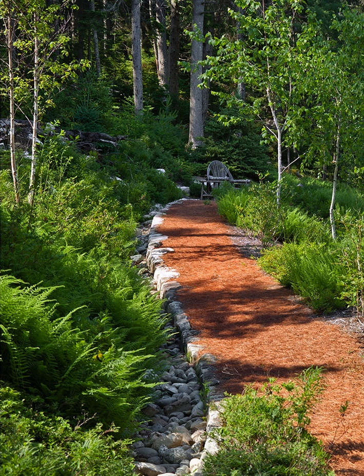 Granite-edged pathways paved with pine needles meander around the property, leading to scenic overlooks above Somes Sound. Running alongside the walkway is an unobtrusive infiltration trench designed to collect and filter rainwater.