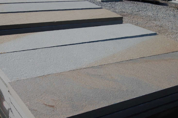 A closeup view of gauged pavers with a thermaled surface. Photograph by Ellen Jenkins.