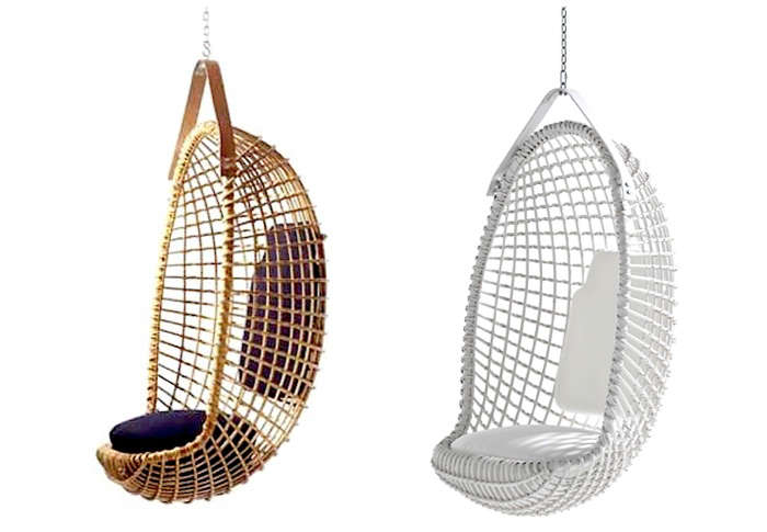 A midcentury design, the Eureka Hanging Chair byGiovanni Travasa is still being handmade in Italy, with a leather hanging strap. Prices start at \$5,600, depending on the finish, at Property Furniture.