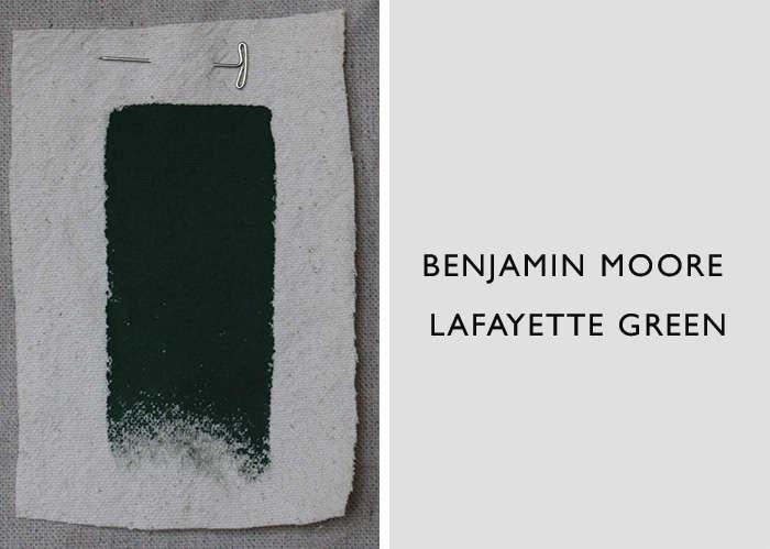 Benjamin Moore's Lafayette Green at the darkest end of jade.
