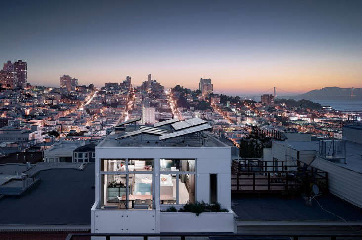 Feldman Architecture, a member of the Remodelista Architect and Designer Directory,designed a flat roof with solar panels mounted at an angle to catch sunlight on top of a building on San Francisco&#8