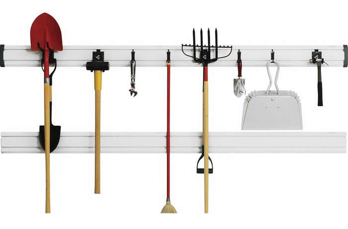 From Gladiator Garageworks (who specialize in garage wall storage systems), the GearTrack Pack is a fantastic storage starter system. It includes two 4-foot pieces of GearTrack, an assortment of eight hooks of varying sizes that fit in the track channels and end caps. The set is $59.99 through Gladiator.