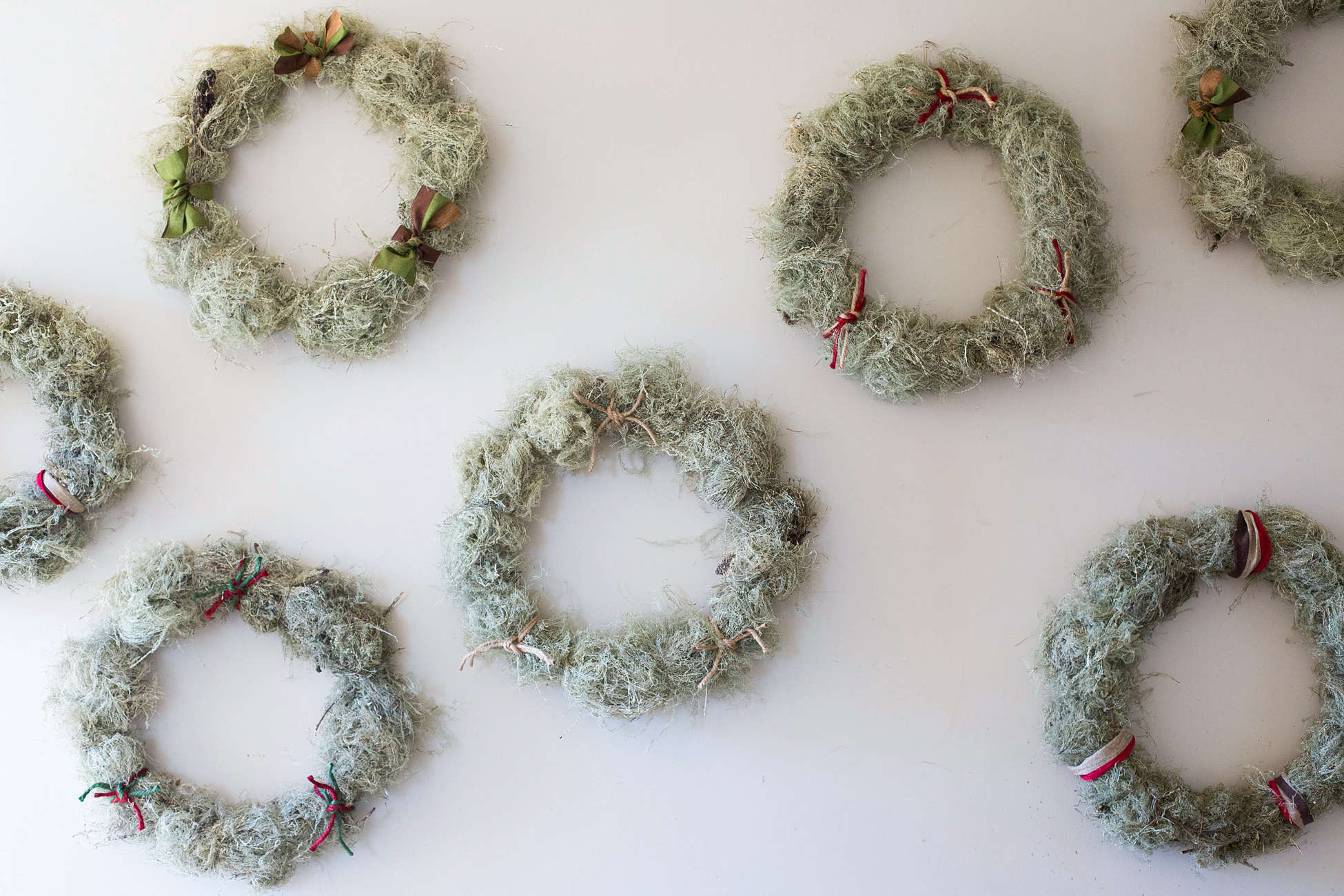The holiday wreaths on display at the Russian River Flower School.