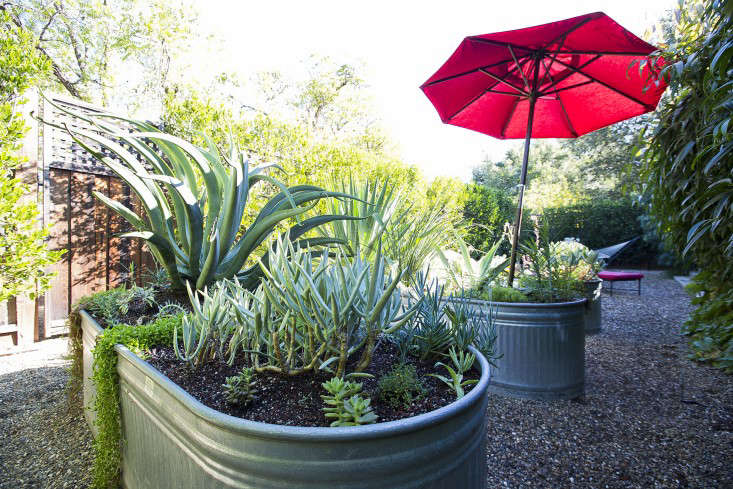 Galvanized planters in a secluded area at the rear of the house. See more ideas for troughs at Steal This Look: Galvanized Troughs as Raised Beds.