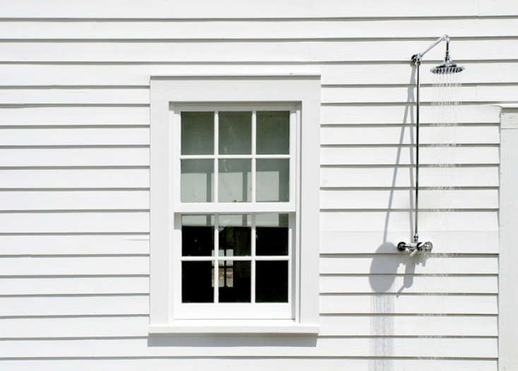 Outdoor showers clapboard house New York state