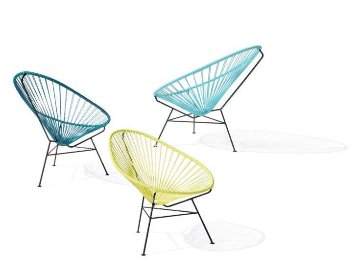 Above: Danish label OK Design imports Mexican-made Acapulco Chairs with triangular powder coated steel frames for sale in Europe; available in four colors including (as shown, L to R): Petrol, Yellow, and Light Blue. A chair is €399.