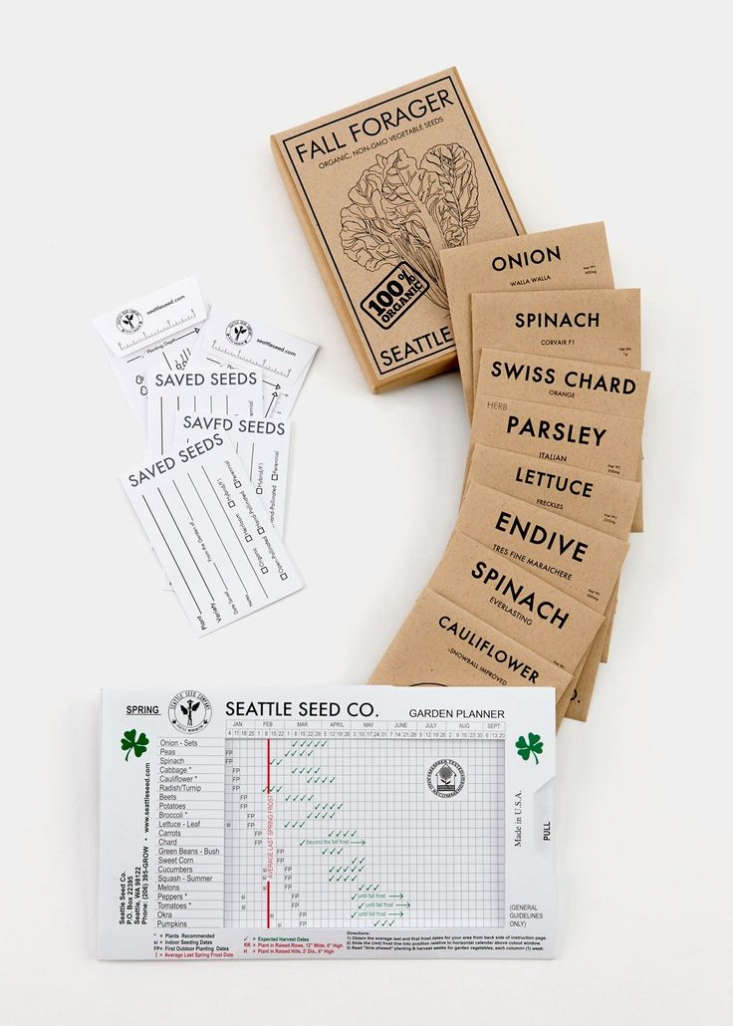 A Fall Forager Kit comes with a year-round garden planner with a sliding frost date feature that makes it useful for all regions in the US. It also comes with eight packets of heirloom vegetable seeds (handpicked for a fall and winter garden) and five seed-saving envelopes; $35 from Seattle Seed Co.