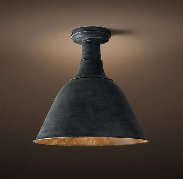 AVintage French Farmhouse Flushmount fixture rated for use in a sheltered porch. It comes in five finishes, including weathered zinc and matte black and three sizes, at prices ranging from $9 from Restoration Hardware.