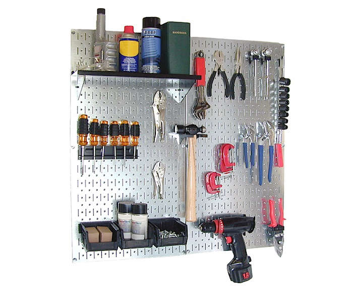 Leave the flimsy and rust-prone pegboards behind. The aptly named Wall Control Galvanized Steel Pegboard Organizer is ten times stronger than traditional pegboard, meaning you can hang more safely and securely. The kit includes two galvanized pegboard panels (3